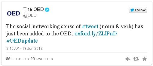 Tweet masuk Kamus Inggris Oxford